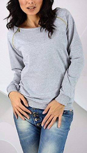 Zeta Ville - Femme sweat-shirt pull molletonné fermetures éclair col rond - 143z Gris