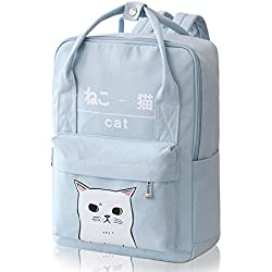 (Light Blue) - Himifashion Women Girls Japanese And Korean Style Bags Kawaii Cat Canvas School Backpack
