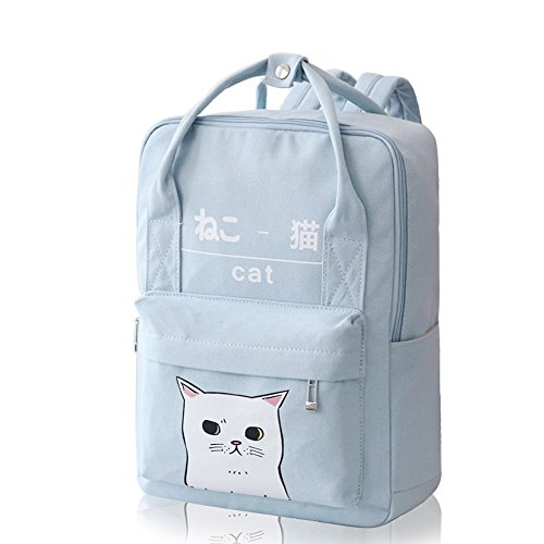 Light Blue - Himifashion Women Girls Japanese And Korean Style Bags Kawaii Cat Canvas School Backpack...