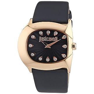 Just Cavalli 0 – Reloj de Cuarzo para Mujer, con Correa de Cuero, Color Negro