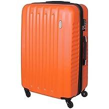 XXL Karry Rígida Casos de Viajes Maleta con ruedas TSA Cerradura de combinación viajes 100 Litros Naranja 811 B