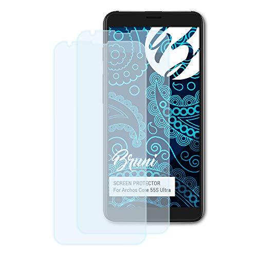 Bruni Schutzfolie für Archos Core 55S Ultra Folie, glasklare Displayschutzfolie (2X)