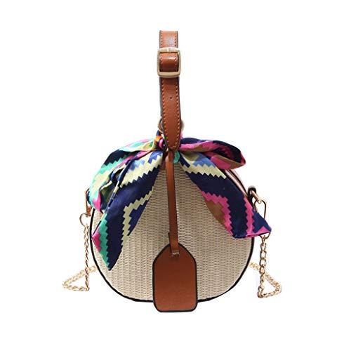 Damen mode Farbband Strohsack Umhängetasche Messenger Bag ❄ Stroh Crossbody Tasche Sommer Strand Geldbörse zum Reise ❄ Bogen Strandtasche Zuhause Aufbewahrungstasche FüR (Braun) Woven Bogen