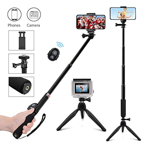 ASSIA Bluetooth Selfie Stick Stativ 3 in 1 mit Bluetooth Wireless Remote Unterstützung Geeignet für GoPro iPhone Samsung Huawei