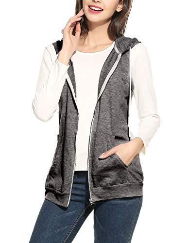 Parabler Damen Weste Ärmellos Jacke mit Kapuze Taschen Reverskragen Freizeit Sport Hoodie Hellgrau Hellgrau EU 38(Herstellergröße:M)