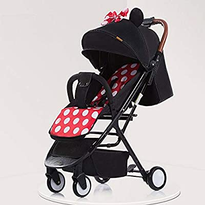 Baby Strollers Ultra-lightweight Folding Can Sit Can Lie Umbrella Baby Trolley Summer And Winter Comfortable,Black