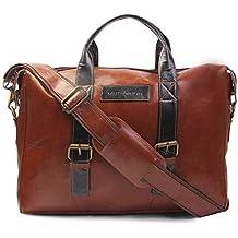 MUTAQINOTI Sleek & Compact Vegan Leather Handmade Men Women Unisex Laptop Bag Dual Tone Sling Messenger Bag Office Bag