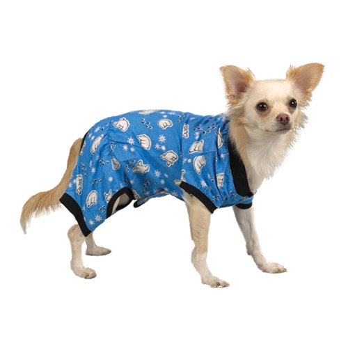 Pyjama Polar Kostüm Bear - Casual Canine 25,4cm blau Polar Bear Baumwolle Cozy Hund Pyjama, XS