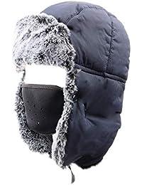 e01fa0f445d90 Azarxis Unisex Winter Trooper Hat Caza Ushanka Sombrero Ruso Cap Ear Flap  Chin Correa con máscara