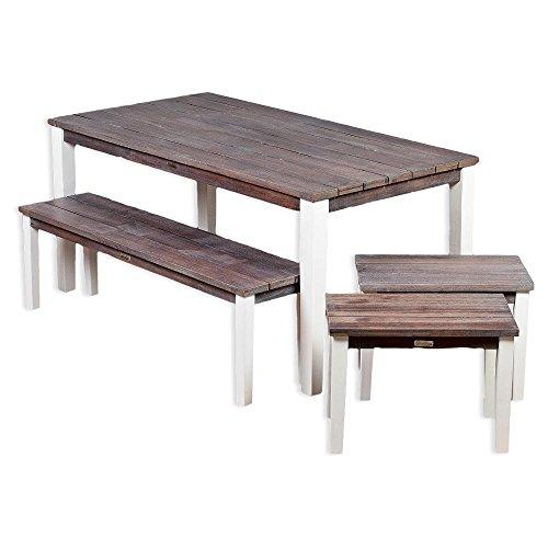 4tlg. Gartenmöbel-Set/Sitzgruppe ARUBA Eukalyptus-Holz Tisch Bank 2x Hocker