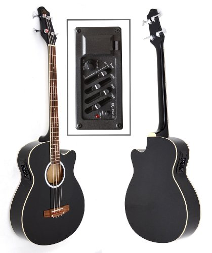 ts-ideen Akustik E-Bass mit 4 Band EQ Pickup Tonabnehmer Bassgitarre mit Ersatzsaiten