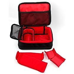 Duragadget Etui de Protection rembourré pour Polaroid Pop, IE090 et IE126, Olympus Pen E-PL8 et Stylus SH-1 et Accessoires - intérieur Rouge modulable