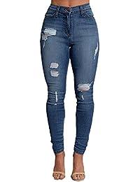 ZongSen Femmes Skinny Denim Jeans Déchirés Pantalon Stretch Slim Jeans  Pantalons Crayon Jeggings Leggings Collants 748bc39b2958