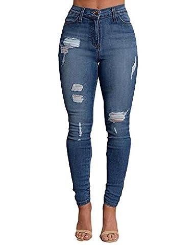 Femmes Skinny Denim Jeans Déchirés Pantalon Stretch Slim Jeans Pantalons