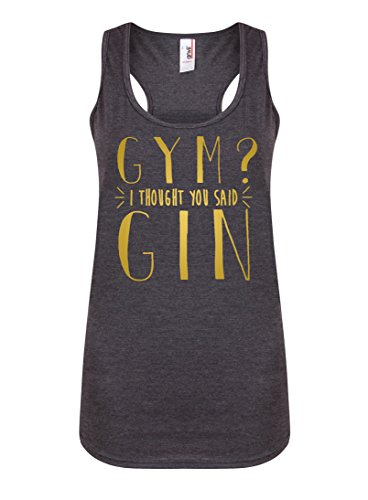 Womens Slogan Racerback Vest Top Gym? I Thought You Said Gin Dark Grey Medium with Gold -