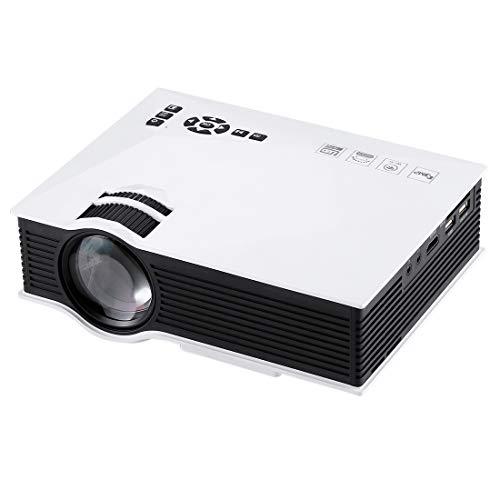 Beamer UC46 1200 Lumen HD 800 x 480 Digital-LED-Projektor mit Fernbedienung, Unterstützungs-USB/SD/VGA/HDMI (Schwarz) Yh (Farbe : Weiß)