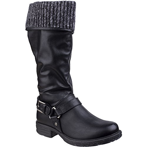 Divaz Womens/Ladies Monroe Pull On Tall Cuffed Fur Lined Casual Boots Black