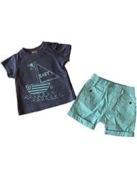 Conjunto bebe - tee shirt y short - Azul - 3 a 24 meses