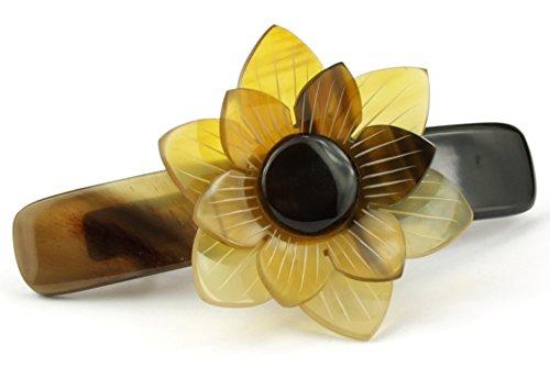 Accessoire de coiffure en corne naturelle - Barrette mécanique pour cheveux - Grande fleur claire