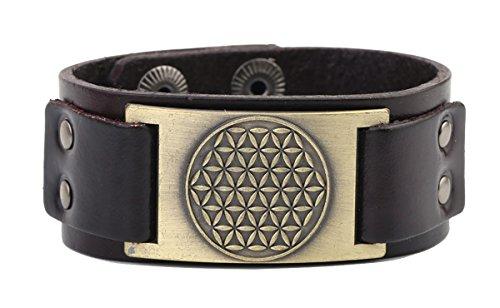 De la flor de la vida con la geometría sagrada Mandala egipcio pulsera de piel joyas