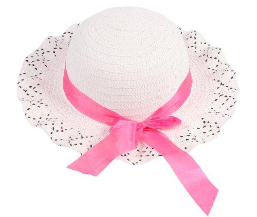 HENGSONG Bowknot Baby Kinder Mädchen Hut Sommer Herbst Hüte Mützen Strandhut Strohhut Sonnenhut (Weiß)