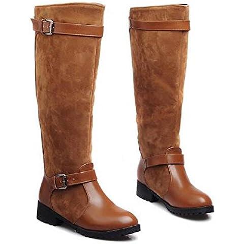 grandi dimensioni negli stivali Scrub cavaliere delle donne stivali tacco piatto ginocchio , brown , 37