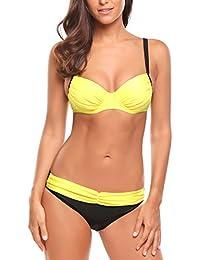 ZhuiKun Maillot de Bain Femme Taille Haute Taille Grands Bikini Maillot de Natation Vert Armée L