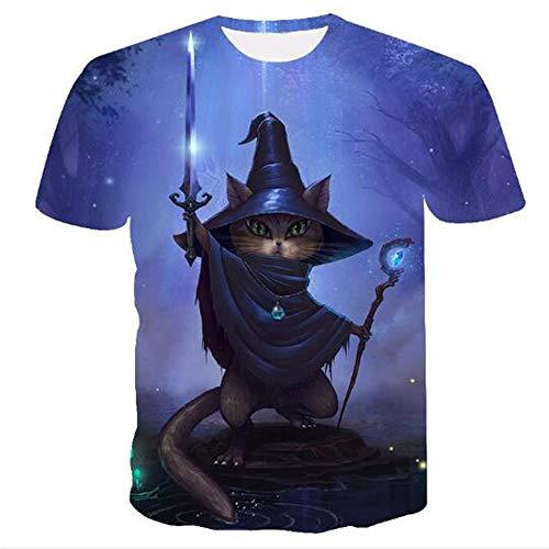 sommer-beiläufige Tarnungs-Druck-mit Kapuze ärmelloses T-Shirt Spitzenweste,Halloween Katze lila L ()