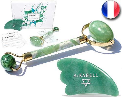 Akarell Rodillo De Jade Autentico Y Gua Sha 100% Real Piedra...