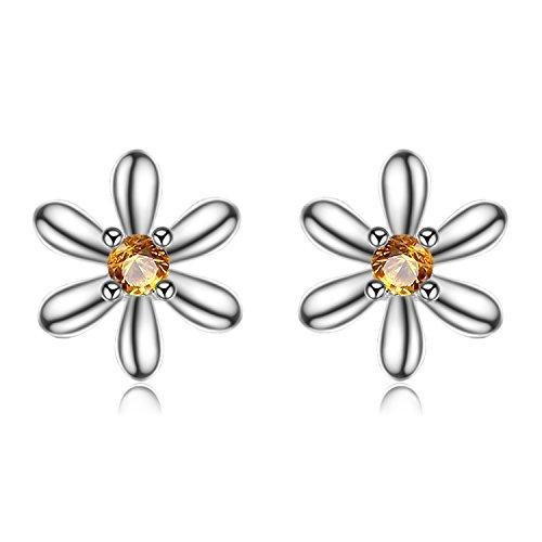 JewelryPalace Fiore 0.1ct Sintetico Arancione Zaffiro Stud Orecchini 925 Sterling Argento