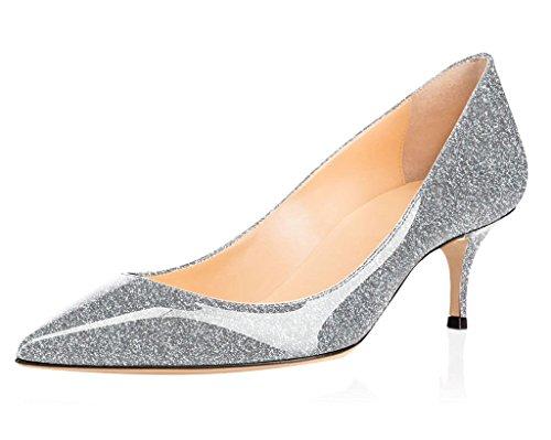 ELASHE Damen Kitten Mid Heel Pumps |6.5cm Spitze Zehen Büro Fersen | Geschlossen Pumps Glitzern-Silber EU38