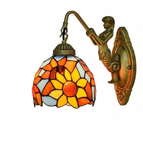 Sun Flower Pattern Glasmalerei Wandleuchte, 5,9 Zoll Tiffany Style Wandleuchte dekorative Leuchten für Schlafzimmer Nacht Korridor, E27, 110-240V