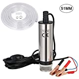 flintronic® Water Pump, Diesel Fuel Pump 12V 51MM Stainless Steel Submersible Pump with Clip (Prohibited Gasoline&Flammable Liquids) Filter Removable | 4m Power Cord | Scope of Diesel, Kerosene, Water