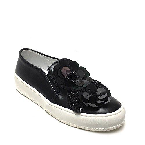 shoegar Sneakers Slipon Donna Nere con Applicazione Floreale Paillettes Vera Pelle Made in Italy Nero