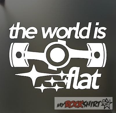 the world is flat Subaru 20 cm Aufkleber für Auto,Scheibe, Lack,Wand,Wandtattoo aus Hochleistungsfolie für alle glatten Flächen von myrockshirt® Autoaufkleber Tuning Decal Sticker