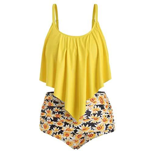 CRE87 Damen GroßEr, GerüSchter Bikini Mit Hohem Taillen-Sonnenblumen-Print