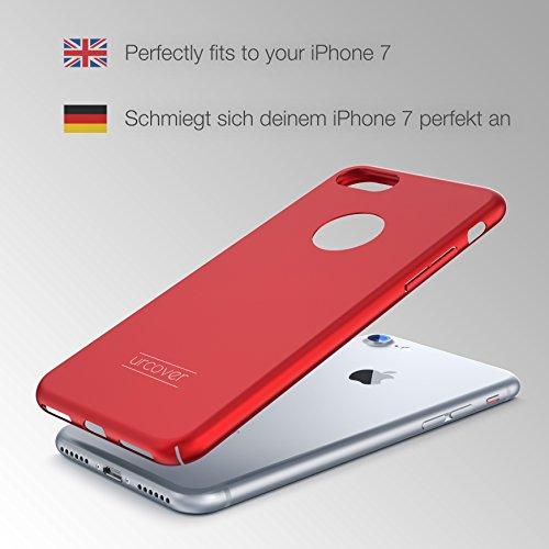 URCOVER® Ultra-Slim Hard Case Housse Protection | Apple iPhone 7 | Plastique in Rouge | Coque Mince Anti-choc Léger Étui Bumper Sac Armor Cover Élegant Rouge