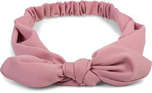 styleBREAKER Cinta para el Pelo de Mujer Monocolor con Lazo y Goma elástica, Cinta para la Frente, Pinup, Rockabilly 04026035, Color:Rosa Palo