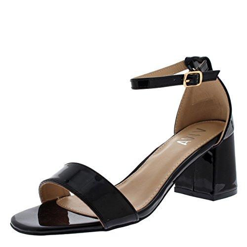 Viva Damen Sandale Ausgeschnitten Blockabsatz Offener Zeh Kaum Da Fesselriemen Fersen - Schwarz Patent KL0292C 4UK/37
