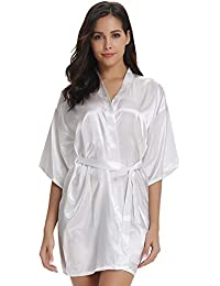Vlazom Womens Kimono Robes Dressing Gown Satin Bathrobe Nightdress Pure  Colour Short Style with… 85e5a600e