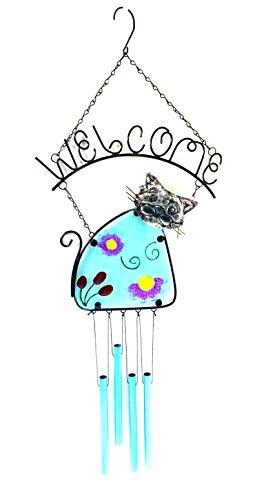 - Display Kitty Katze w/Fleck Glas Welcome Schild & Windspiel Röhren (Bejeweled Kitty)