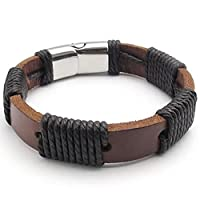 MENDINO Mens Perforated Stainless Steel Braided Rope Leather Brown Bracelet Cuff Bangle 8.0