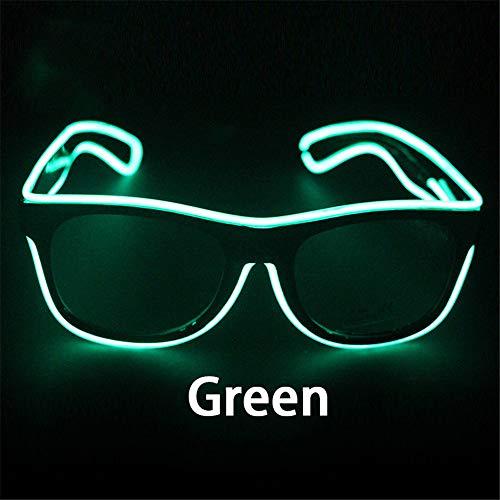 FUNXS Blinkende Gläser EL-Draht-LED-Glas-glühende Partei liefert Beleuchtungs-Neuheit-Geschenk-helles Licht-Festival-Partei-Glühen-Sonnenbrille (Farbe : Green)