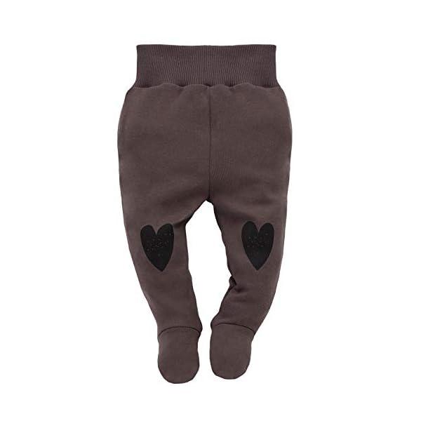 Pinokio - Little Bird - Pantalones Niñas Bebé Baby Girls Pelele Marrón Rojo con Corazón 100% Algodón 56 62 68 74 cm 1