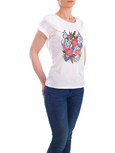 """Design T-Shirt Frauen Earth Positive """"Romantic Blossom Night Version"""" - stylisches Shirt Floral Natur von Pina Lee Weiß"""