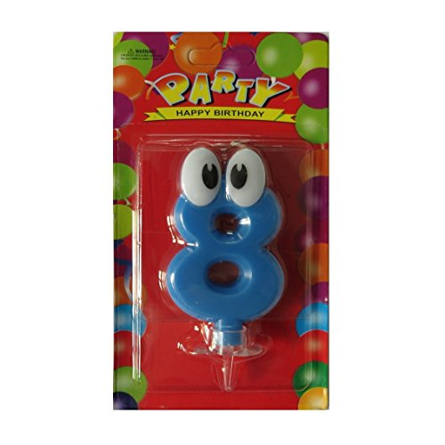 PEPUP Giggly Eye Birthday Number Candle 8 (Blue), for a fun filled kids birthday party decoration, Party Supplies with unique birthday candle