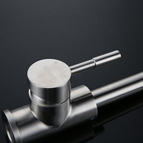 Kinse® Elegant Gebürstet Silber Küchearmatur Mischbatterie Spültischarmatur aus Edelstahl SUS304 mit ABS Bubbler Kann Wasser 30% Sparen für Küche Waschbecken -