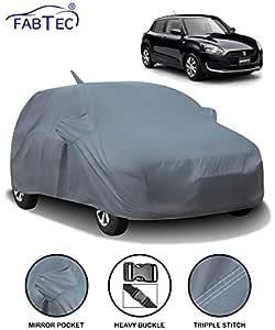 Fabtec Car Body Cover for Maruti Swift (2018-2019) with Mirror Antenna Pocket (Heavy Duty)