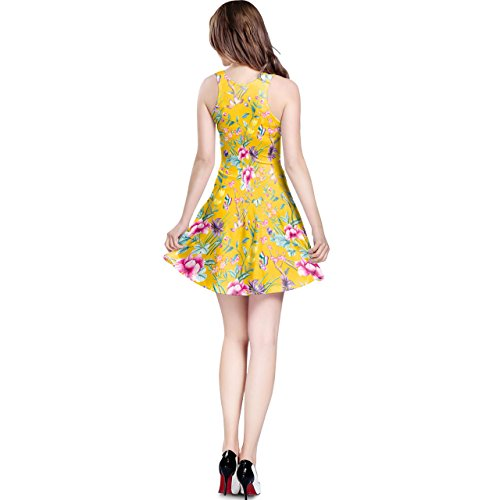 Floral Chinoiserie Sleeveless Dress XS-3XL Kleid Yellow