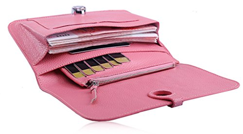 Longzibog Dual verstellbare Schultergurte und Hängeschlaufenband Mode geldbörse damen lang Purpurrot